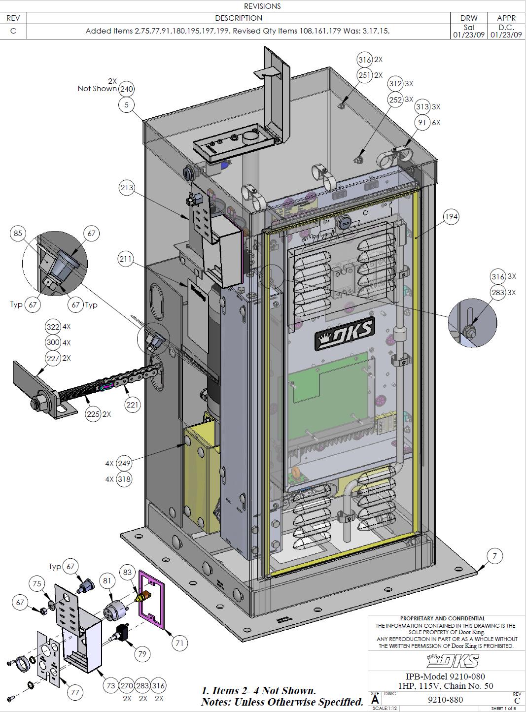 Doorking Parts Slide Gate Operators 9210 080 Doorking