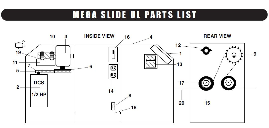 Liftmaster Mega Slide Parts, Liftmaster Mega Slide Gate Opener Parts