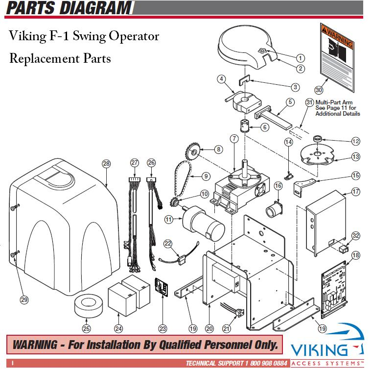 Viking F-1 Replacement Parts, Viking F1 Gate Opener Replacement Parts