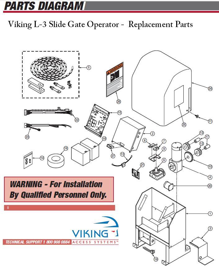 Viking L-3 Gate Operator Parts Viking L3 Gate Opener