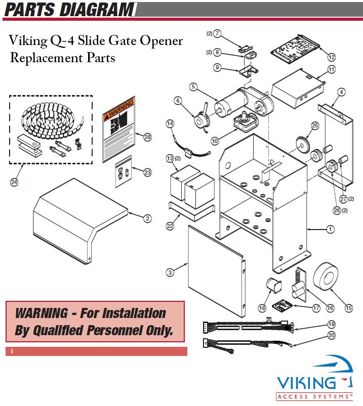Viking q gate opener replacement parts