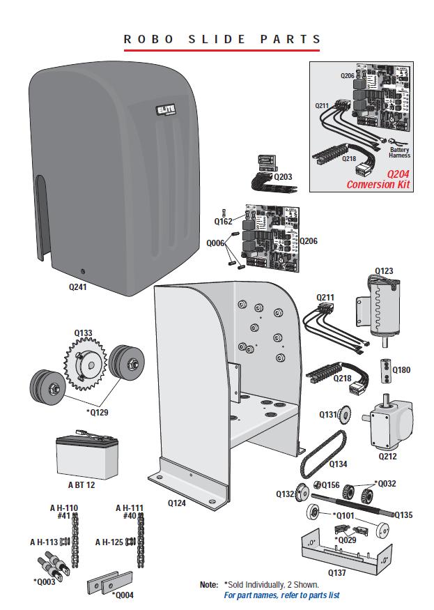 Elite Parts Elite Robo Slide Gate Opener Parts Elite