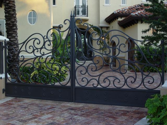 European Fan Driveway Gate Electric Gate Wrought Iron