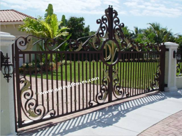 Golden orchid driveway aluminum gate wrought iron gate for Aluminum driveway gates prices